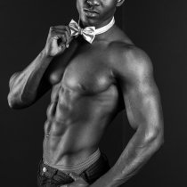 Topless waiter Tyreese Black and white
