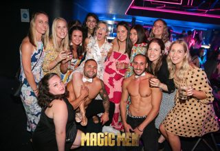 Girls and topless waiters magic men