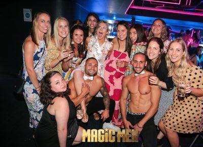 Girls and topless waiters magic men
