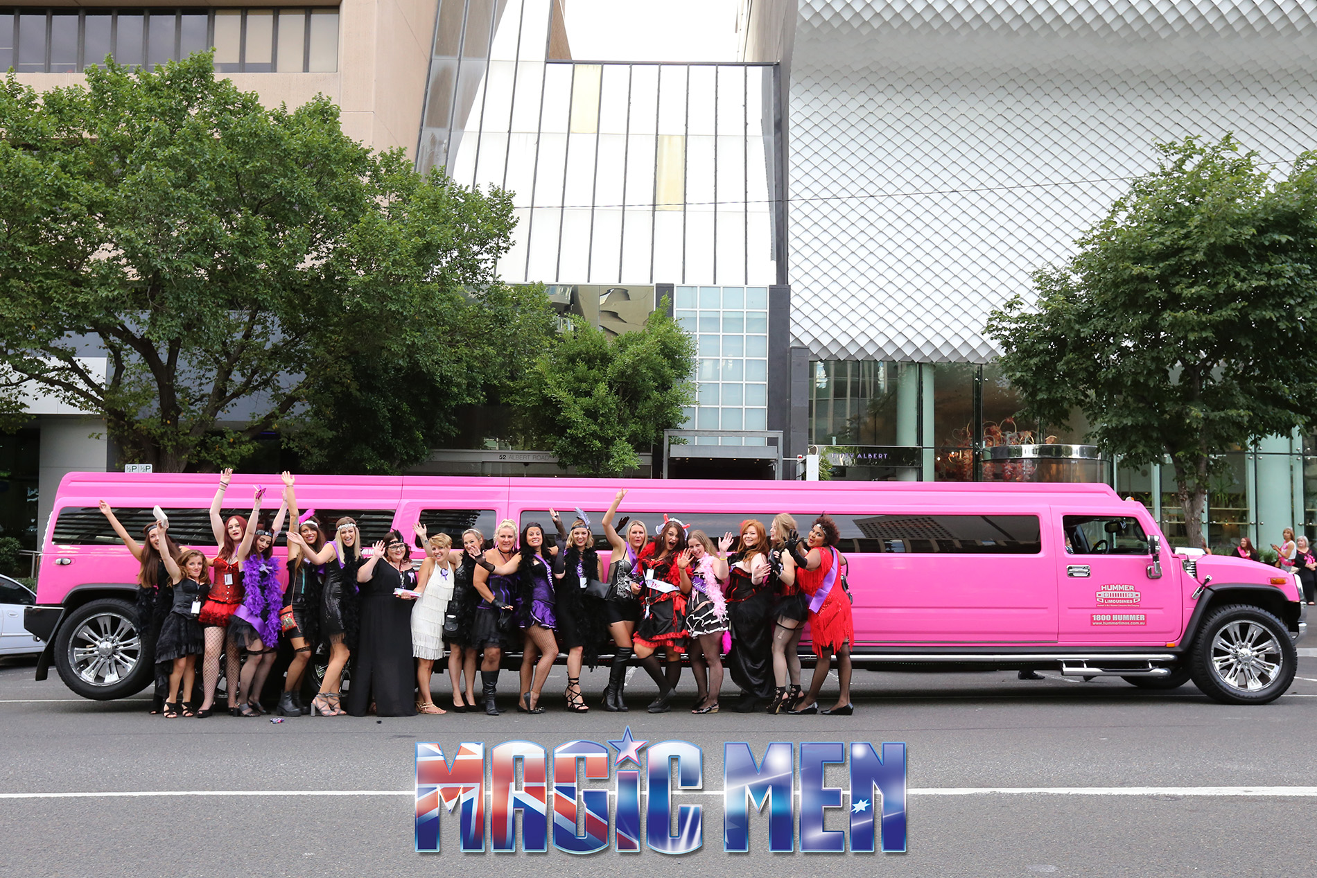 hens party celebrating in a hummer