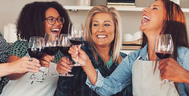 cooking school girls drinking red wine