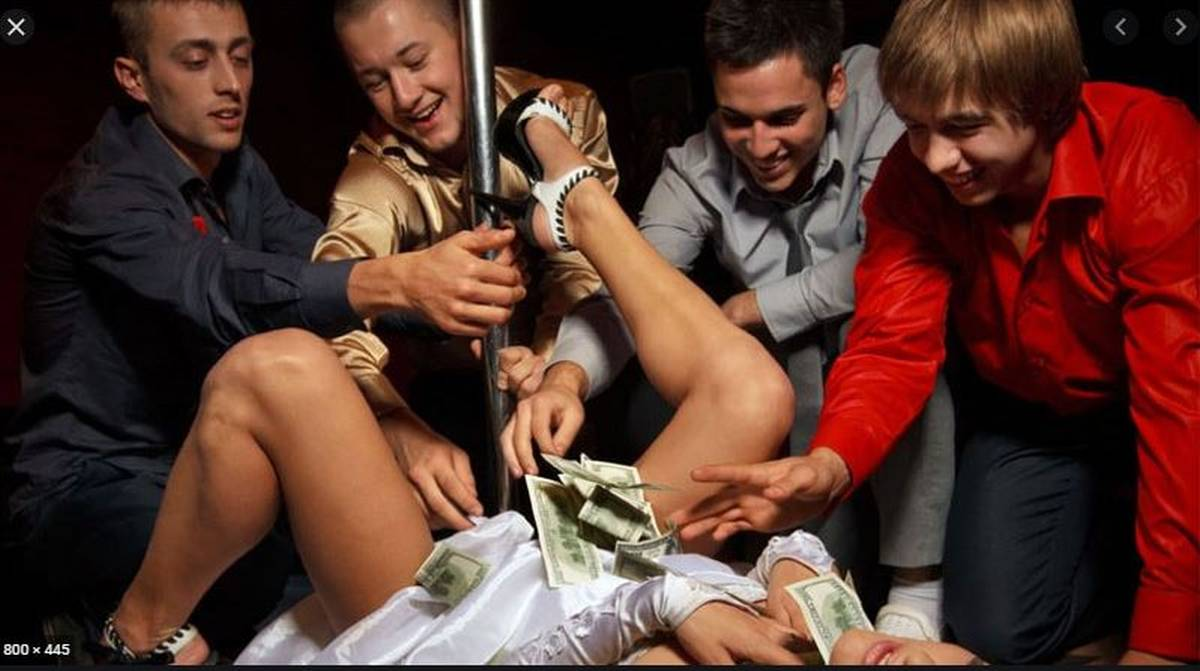 woman lying down men throwing money