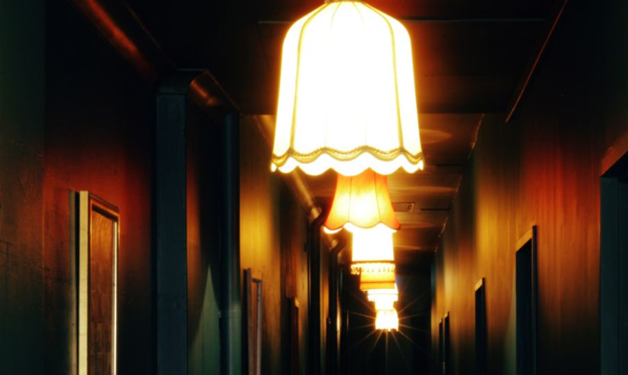 cipher escape room corridor with lights