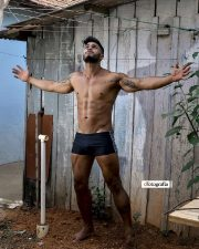 Topless hunk in shorts