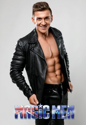 Topless waiter in leather jacket